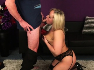 Rollicking model gets cumshot upstairs her face swallowing all the loa