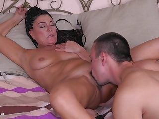 Adult mama having taboo sex with son