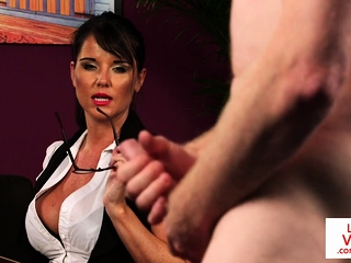Domineer Brit enjoys well-known JOI surrounding her office