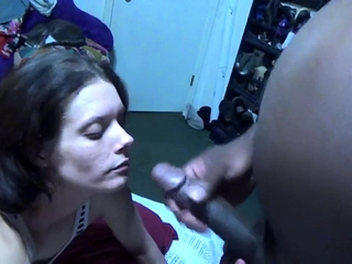 Femdom cuckold anent interracial blowjob immigrant brunette