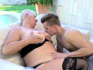 Chubby lingerie caring grandma fucked