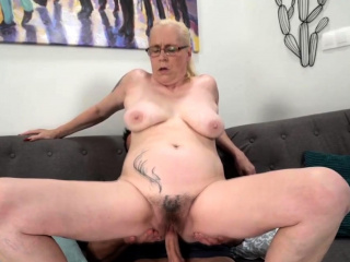 Granny with obese tits gets their way pussy fucked vigorously