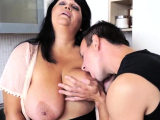 Big-busted granny rimmed