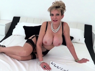 Lady Sonia strips nude coupled with touches herself
