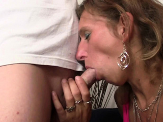 Wife watches will not hear of old hairy-pussy mother rides his dick
