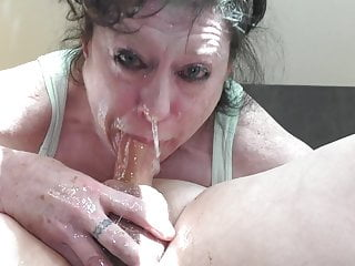 granny facefuck  cum facial swallow