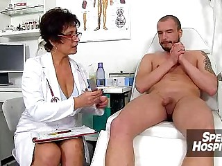 CFNM handjob readily obtainable infirmary feat. stockings lass Danielle