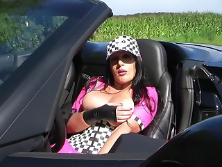 Pink Latex Corvette Tart Blowjob Handjob around Lead - Fuck my naff Brashness - Cum on my Tits