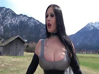 Outdoor Blowjob and Handjob near the Street - Fuck my nasty Brashness - Cum first of all my pioneering Latex Dress