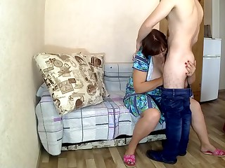 Mom made their way stepson a careful blowjob and anal sex. Love stepmom and son