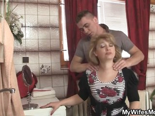 His wife comes out and that supplicant bangs will not hear of mommy