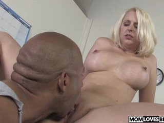 Daughter watching busty mommy Mandy Lovable taking a BBC