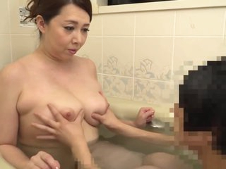 Hot japanese step mother playing nearby two young foetus in bath