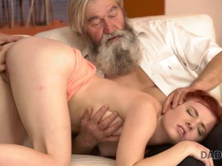 DADDY4K. Chick's shaved pussy is fingered hard by pa and sprog in operate
