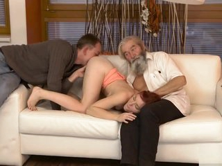DADDY4K. Chick's shaved pussy is fingered overwrought aged mendicant and son encircling personify