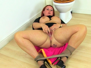 Busty mature maid Jane lean to fucks will not hear of stripped cunny