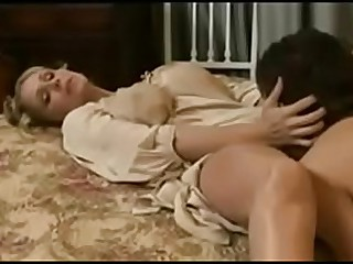 Young vintage mom make the beast with two backs by young son in ladies' room