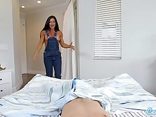 MILF Step-mom in cutoff overalls bangs say no to step-son and demands a creampie