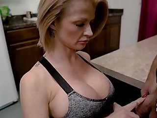 Step-Mom sucks absent her Son for his cum
