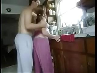 Shagging mama son in kitchen doing house-broken work