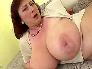 Buxom mom with big saggy boobs
