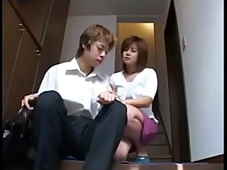Shy japanise milf plays with hairy pussy and young people