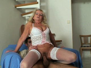 Ancient blonde motherinlaw sucks and rides his huge dick