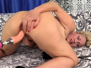 Blond Slut - Granny Fucks Machine Comp