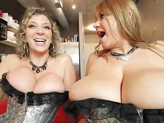 Samantha 38G and Sara Putter around - Foursome in Fluctuate Corsets