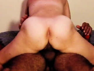 Hairy non-professional girl real orgasm taking control of dick