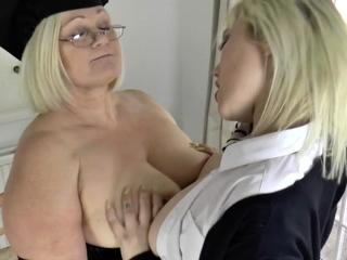 Grown up lesbian headmistress rims bore