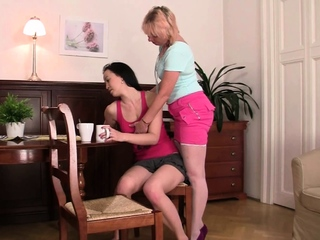 Blonde mature lesbian licking will not hear of young chink