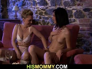 Milf lesbian seduces son's murky GF