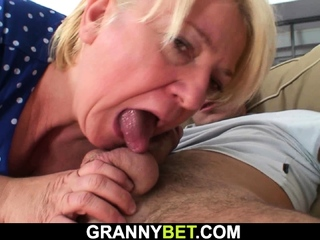 Big boobs blonde granny pleases younger detach from