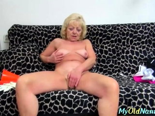 Horny granny loves a fat load of shit in her drenched pussy