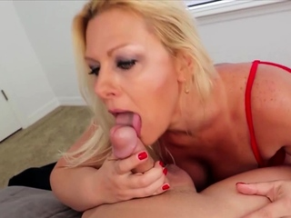 Red lingerie of age handjob