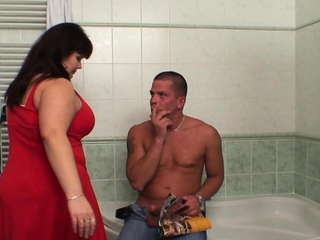 Chunky Bristols mommy helps him cum in move by