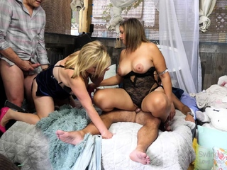 Busty blondes in chap-fallen underthings enjoying hardcore sexual intercourse