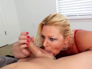 Foreplay handjob and oral away from tow-haired milf spliced