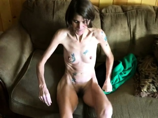 Skinny tattooed wife brigandage and flaunting her pussy
