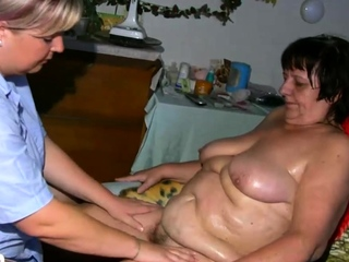 Chubby be concerned oiling chubby granny together with makes her cum