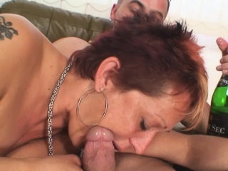 Four dudes fuck her shaved pussy grandmother