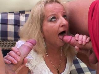 80 duration venerable blonde grandma swallows two huge dicks