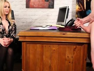 Voyeuristic meeting femdom teases wanking sit down