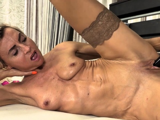 Short haired mature coddle Sanny is naked in will not hear of beige