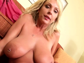 Blonde Laura Crystal with obese boobs