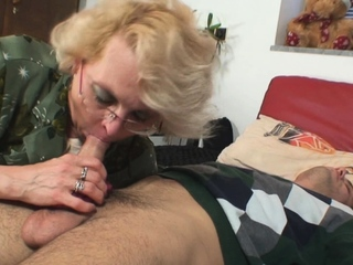 Shaved-pussy old grown-up pleases an young gay blade
