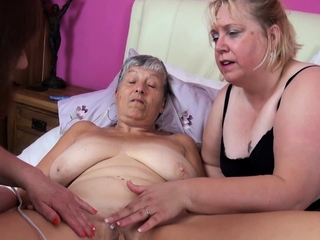 Three grey bbw matures play with impassioned toys