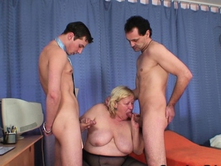 Huge knockers grandma swallows team a few cocks on request on call