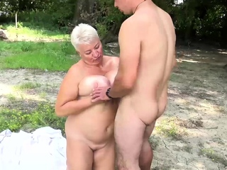 horny stepson loves bbw mother on public seaside